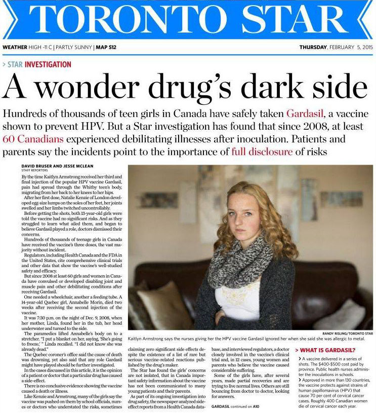 Detail from the Feb. 5, 2015 cover of the Toronto Star
