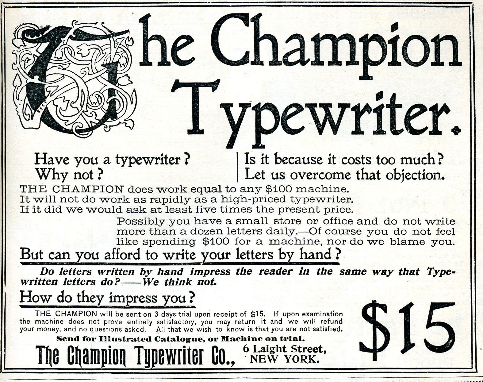 Photograph of Champion Typewriter ad courtesy of Jussi