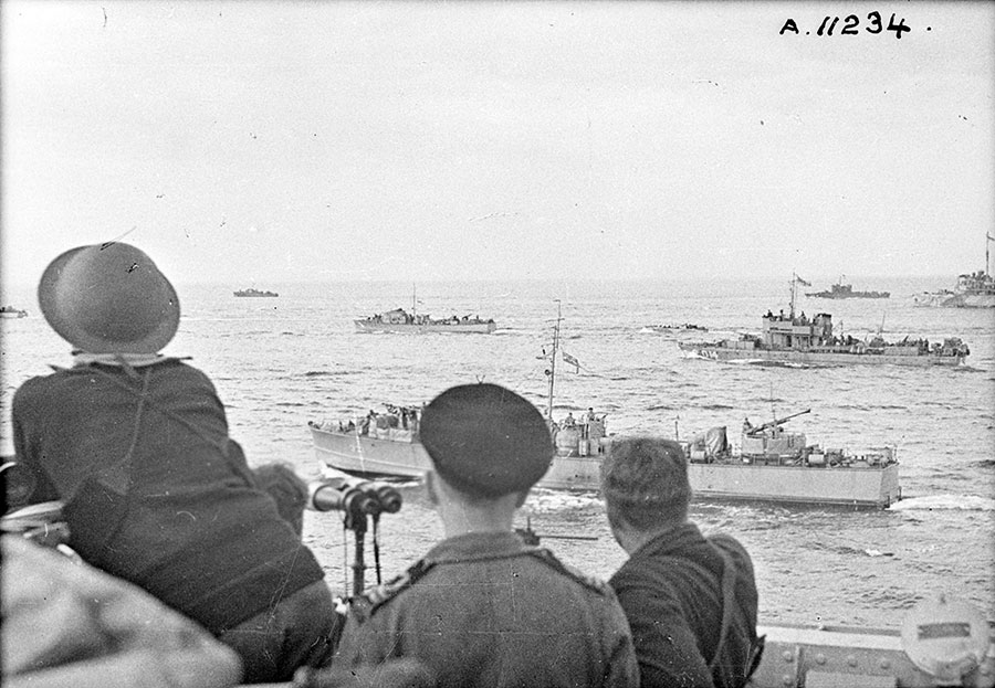 Allied troops approach Dieppe, France, on August 19, 1942, as part of Operation Jubilee